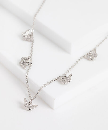 Stationed Butterfly Dainty Necklace, Silver, hi-res