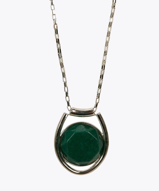 Natural Stone Pendant Necklace, Emerald/Rhodium, hi-res
