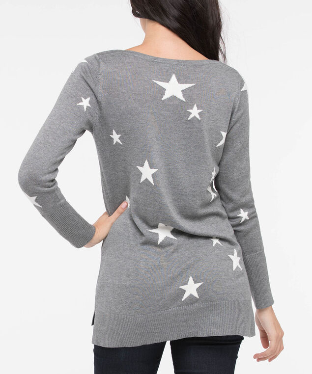 Starry Pattern Step Hem  Sweater, Heathered Grey/Pearl, hi-res