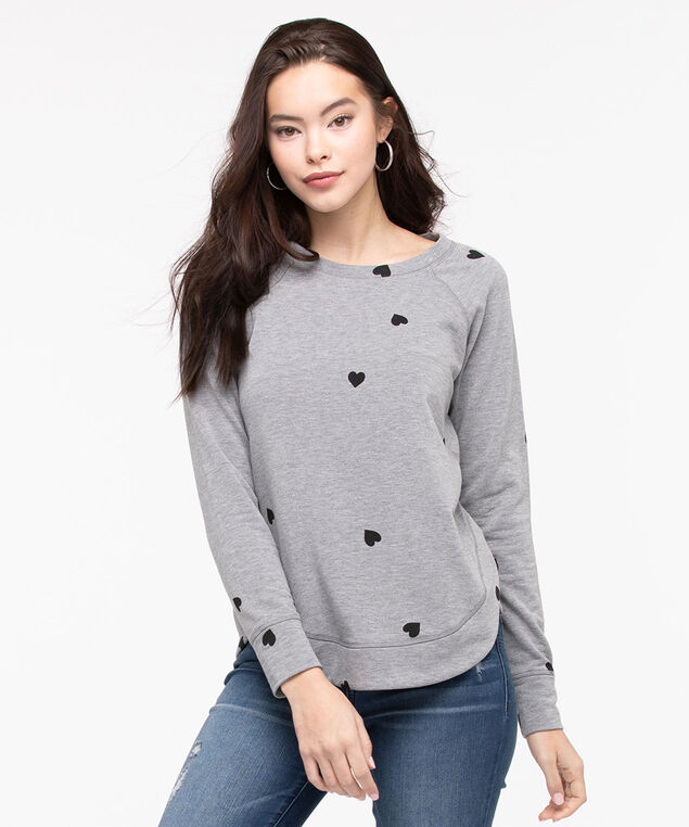 Heart Print Long Sleeve Top, Mid Heather Grey/Black, hi-res