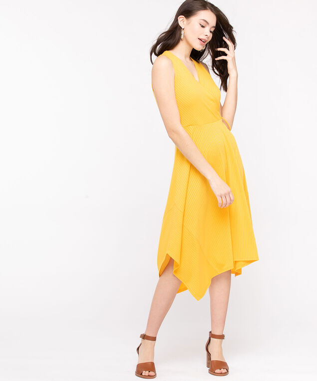 Sleeveless Faux Wrap Dress, Gold, hi-res