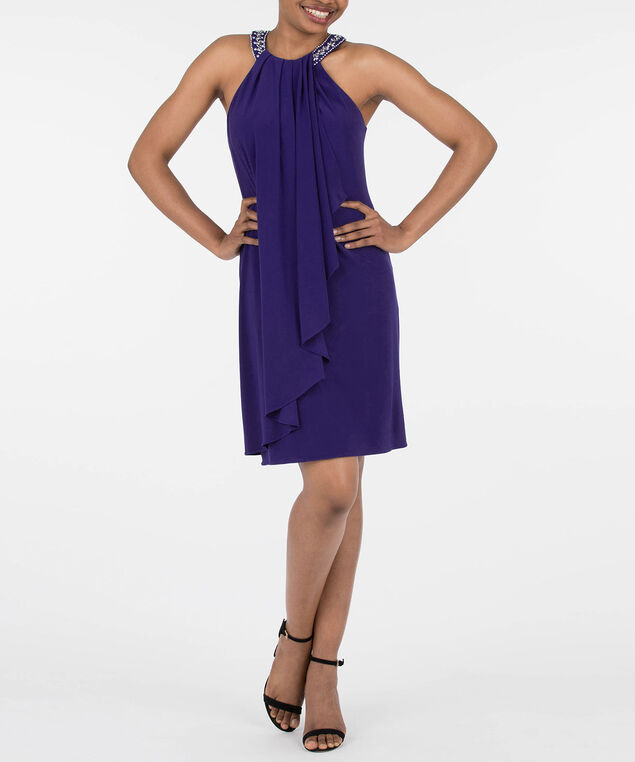 Beaded Drape Neck Halter Dress, Deep Sapphire, hi-res