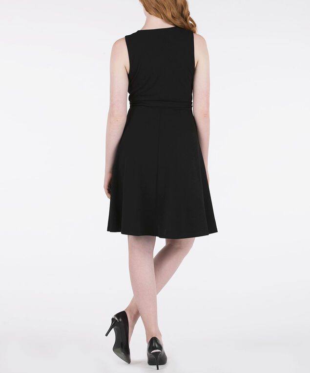 Sleeveless Faux Wrap Dress, Black, hi-res