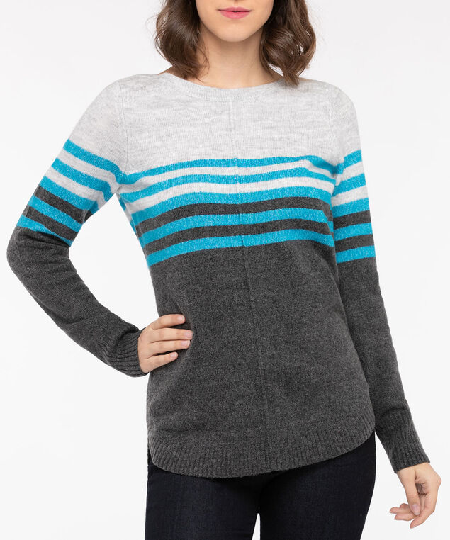 Colourblock Boatneck Sweater, Light Heather Grey/Blue/Mid Heather Grey, hi-res
