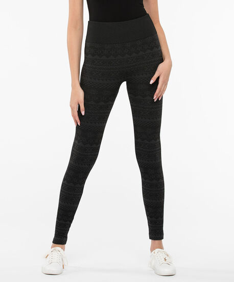 Jacquard Fleece Lined Knit Leggings, Black/Charcoal, hi-res