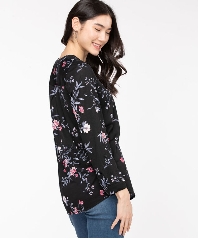 Henley Roll Sleeve Tunic Top, Black/Rose Smoke Floral