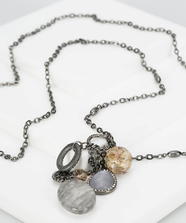 Cluster Pendant Necklace, Hematite/Grey/Mid Heathered Grey, hi-res