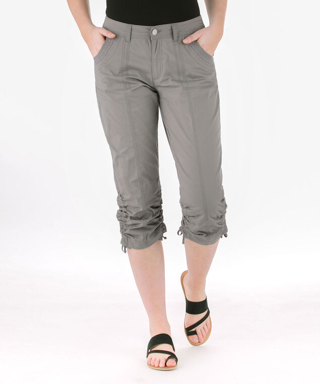 Poplin Double-Ruched Capri, Grey, hi-res