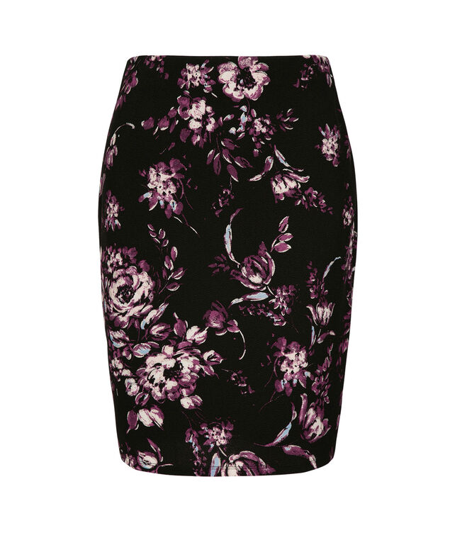 Floral Foil Print Pencil Skirt, Blackberry/Black/Silver, hi-res