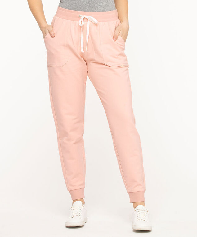 French Terry Drawstring Joggers, Rose Smoke
