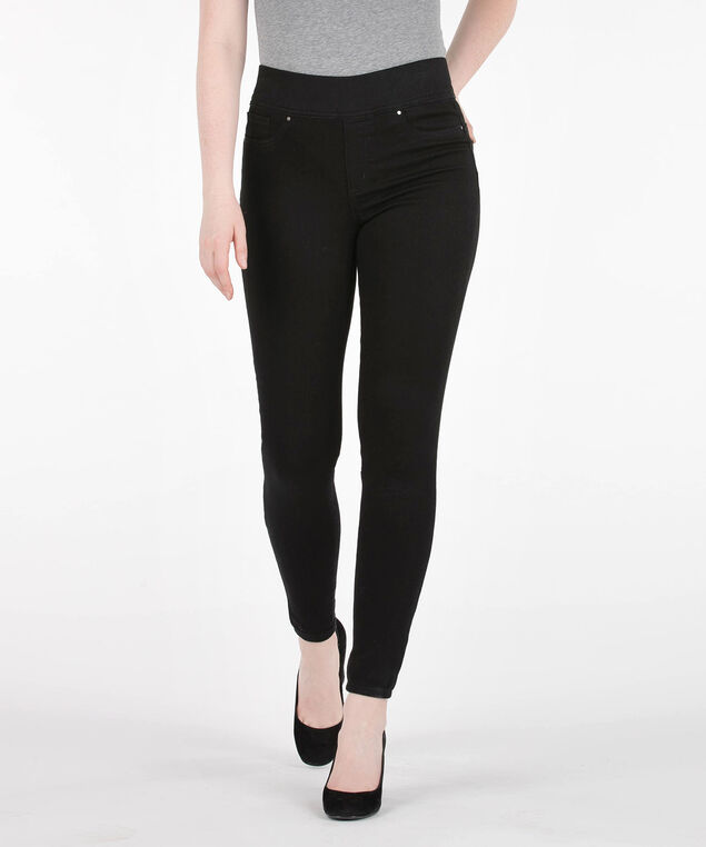Black Pull On Knit Jeggings, Black, hi-res