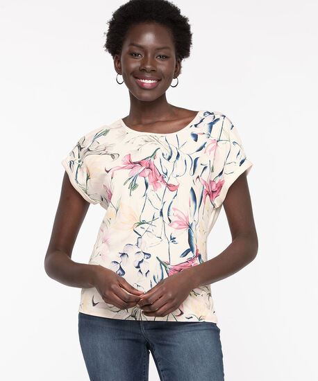 Extended Sleeve Mixed Media Top, Whisper White Floral, hi-res