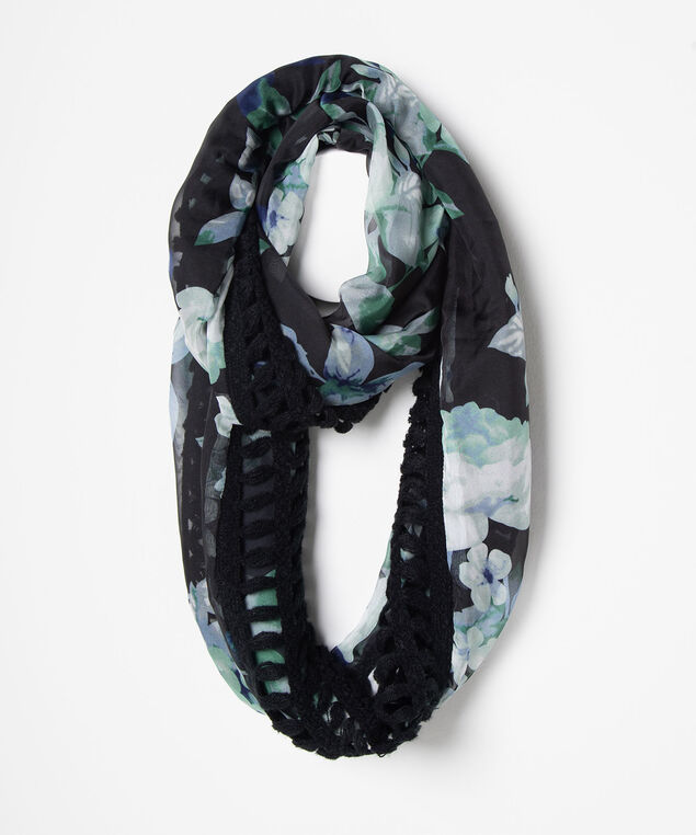 Knit to Woven Floral Eternity Scarf, Black/Deep Green/True Navy, hi-res
