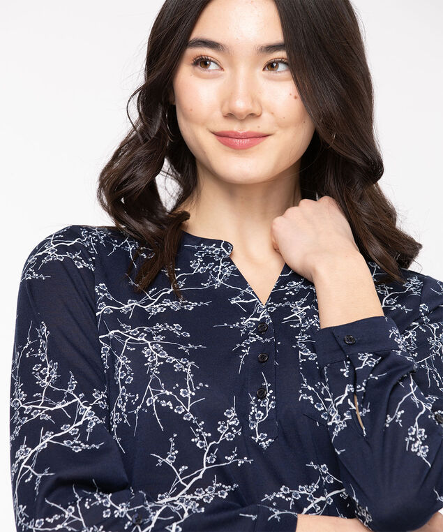 Floral Navy Henley Tunic, Navy