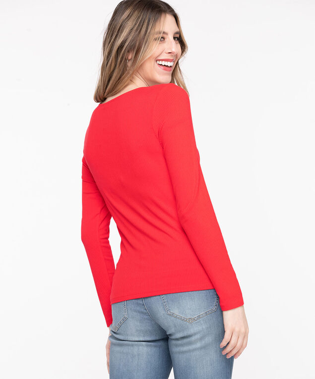 Ruched Front V-Neck Top, Poppy Red