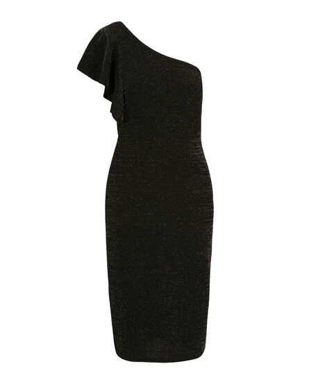 One Shoulder Glitter Sheath Dress, Black, hi-res