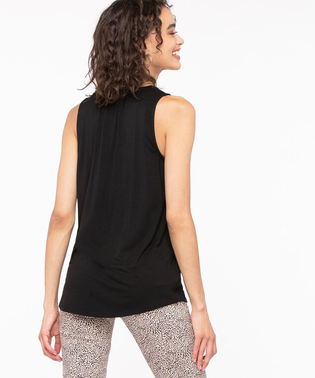 Sleeveless Mixed Media Henley Top, Black, hi-res