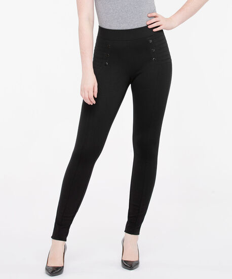 Premier Ponte Button Detail Skinny Leg, Black, hi-res