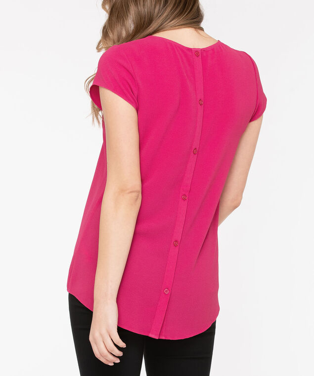 Short Sleeve Button Back Blouse, Orchid, hi-res