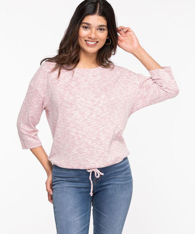 Drawstring Waist Lightweight Knit Pullover, Rose Smoke Mix
