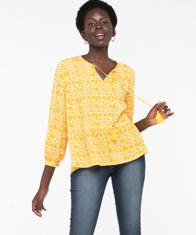 Tassel Tie Peasant Blouse, Yellow/Pearl