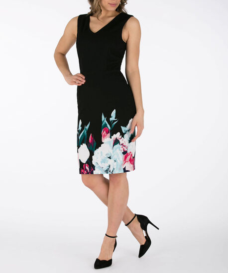 Sleeveless Double-V Sheath Dress, Black/Pink/Teal, hi-res