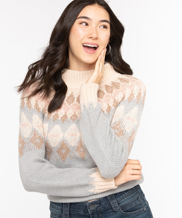 Fair Isle Mock Neck Sweater, Soft Blue/Taupe/Almond, hi-res