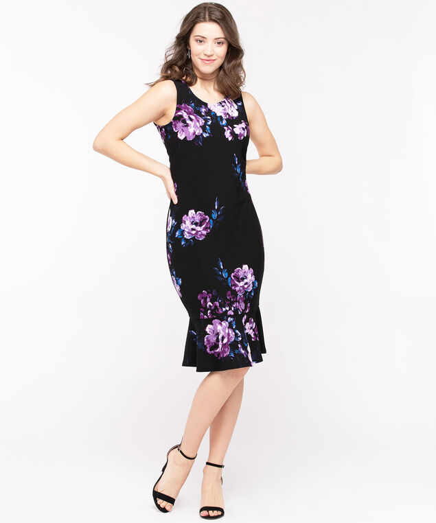 Sleeveless Flounce Hem Sheath Dress, Black/Lilac/Azure, hi-res