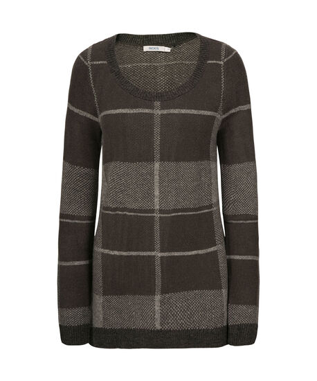 Plaid Plush Pullover Sweater, Charcoal/Grey, hi-res