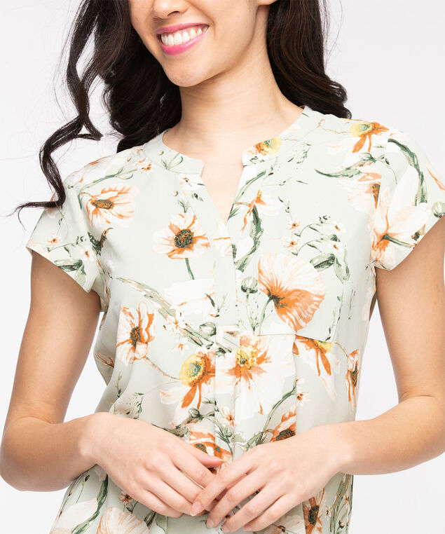Short Sleeve Henley Pocket Blouse, Frosty Green Floral