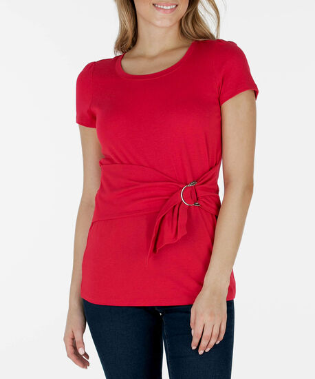 Short Sleeve Buckle-Tie Top, Cherry, hi-res