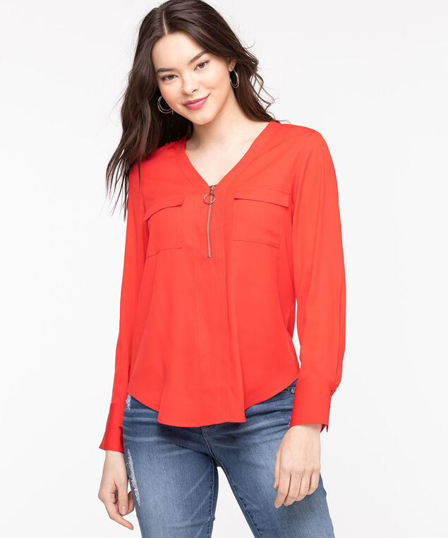Zipper Detail Pocket Front Blouse, Poppy Red