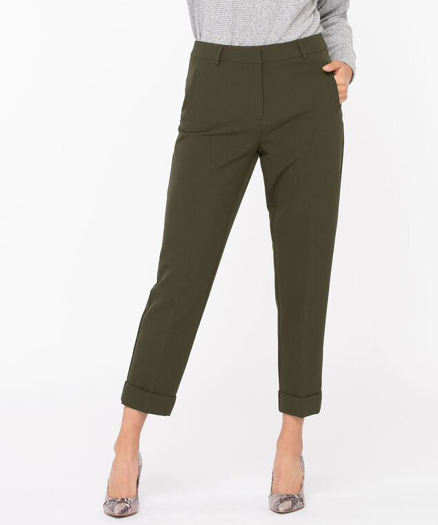 Slim Cuffed Ankle Pant, Silver Olive
