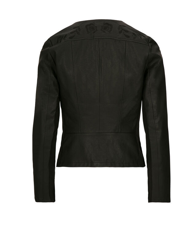 Embroidered Faux Leather Blazer, Black, hi-res