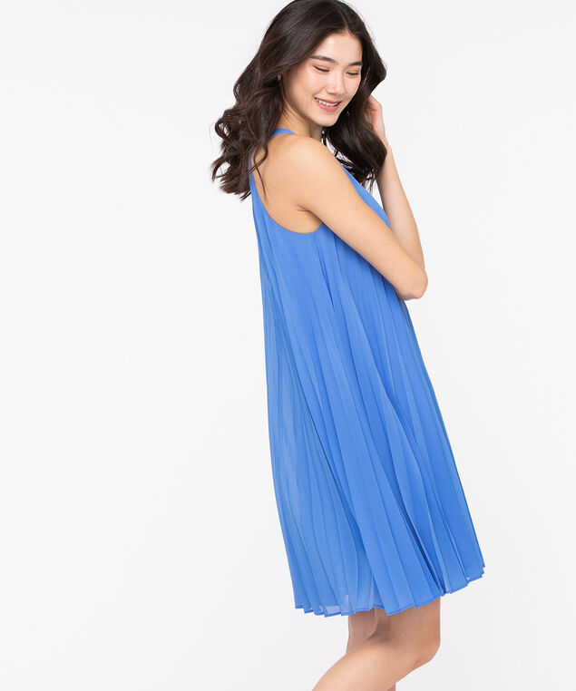 Pleated Trapeze Dress, Bijou Blue, hi-res