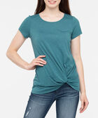 Short Sleeve Knot Front Top, Steel Blue, hi-res
