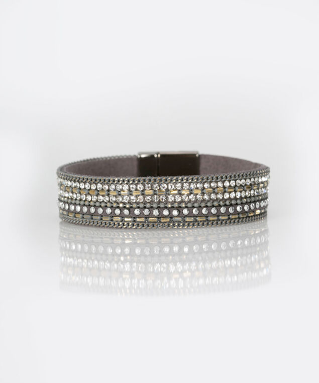 Crystal Faux Leather Wrap Bracelet, Ruched Capri Grey/Rhodium, hi-res