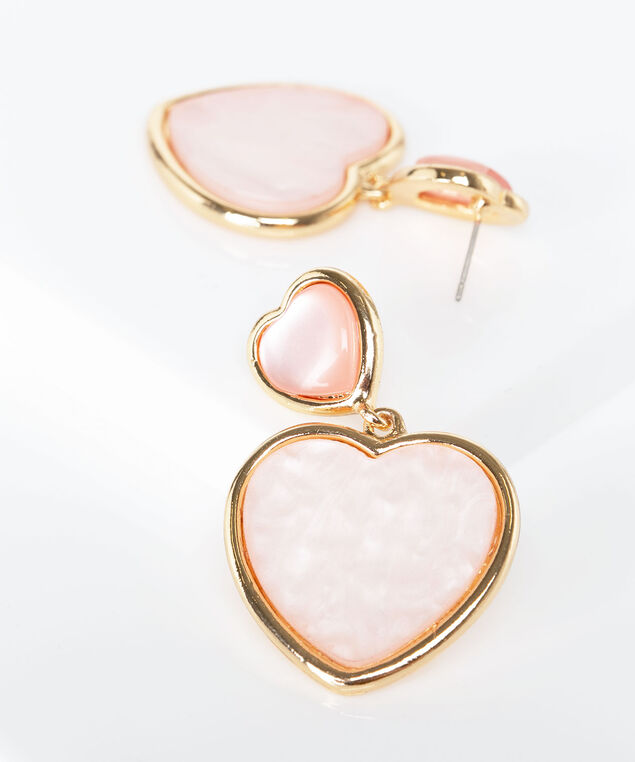 Double Heart Resin Earring, Gold/Dusty Blush, hi-res