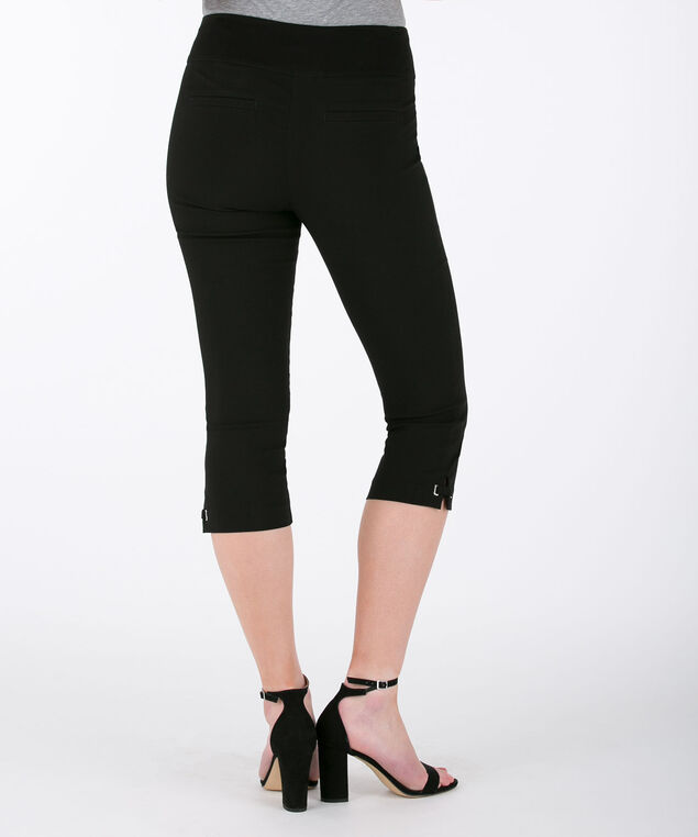 Side-Tab Microtwill Capri Pant, Black, hi-res