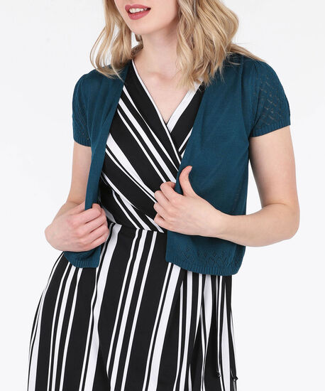 Pointelle Dress Cardigan, Midnight Teal, hi-res
