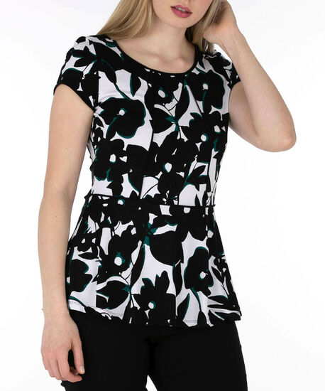 Piped Peplum Top, Black/White/Emerald, hi-res