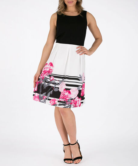 Textured Top & Floral Skirt Dress, Black/Pink/White, hi-res