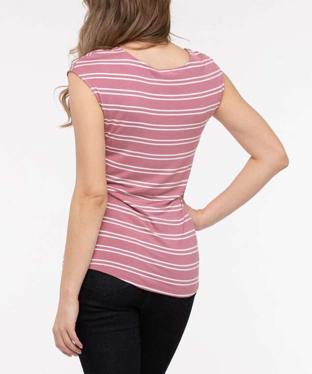 Extended Sleeve Striped Tee, Dusty Blush/Pearl, hi-res