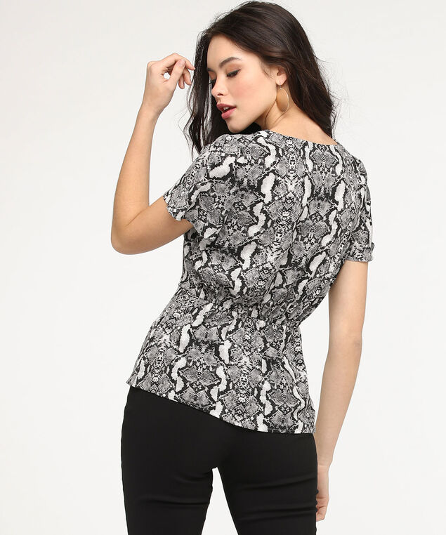 Python Print Peplum Blouse, Black/Charcoal/Grey, hi-res