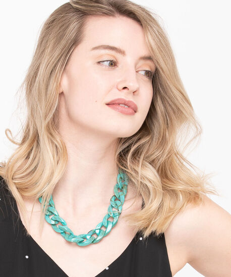 Linked Resin Chain Statement Necklace, Jade, hi-res