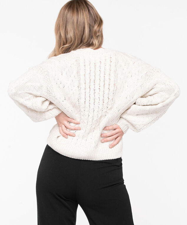 Cable Knit Cotton Blend Sweater, Almond
