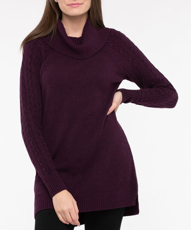 Cowl Neck Cable Sleeve Sweater, Berry, hi-res