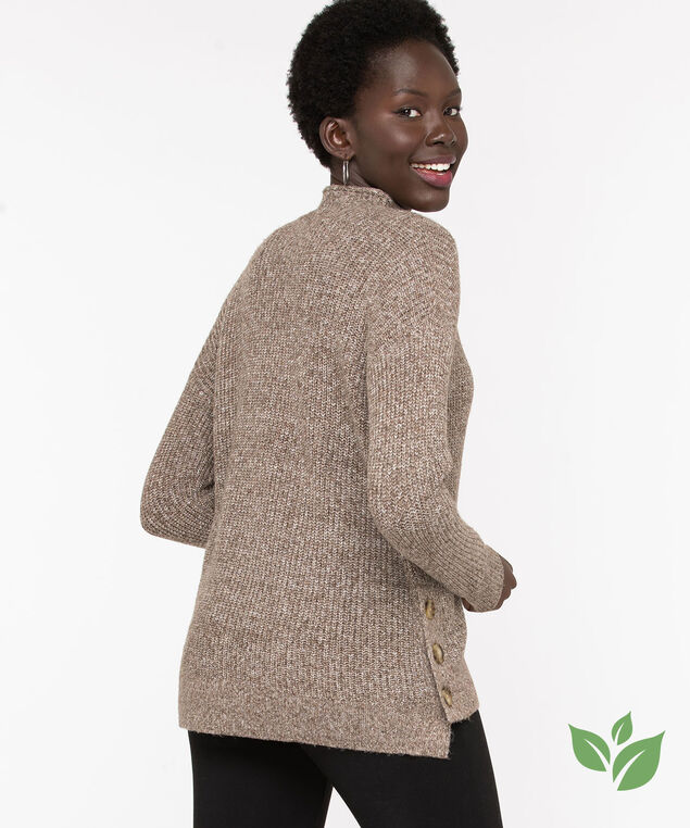 Eco-Friendly Mock Neck Sweater, Brown Mix