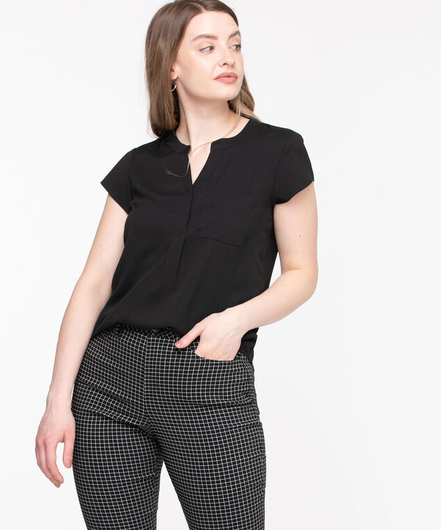 Short Sleeve Henley Pocket Blouse, Black