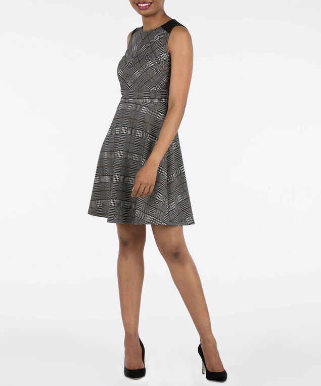 Sleeveless Pleather Trim Glen Plaid Dress, Black/Pearl/Mustard, hi-res